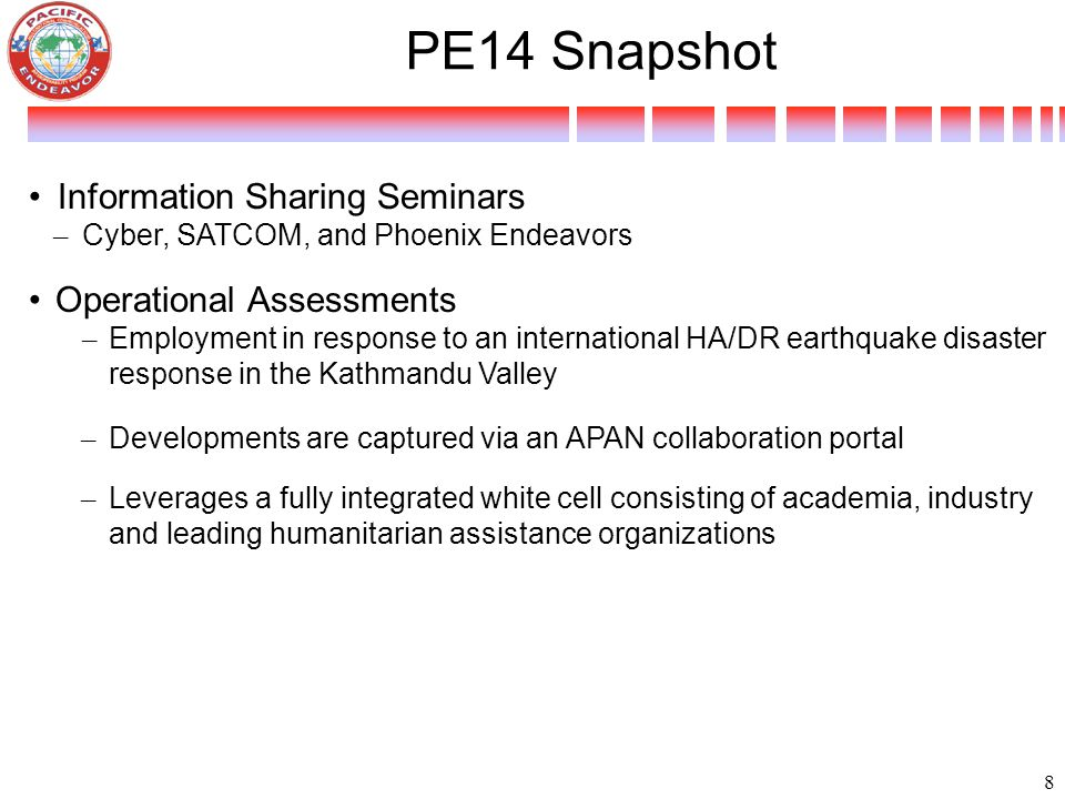 PE14 Snapshot Information Sharing Seminars Operational Assessments