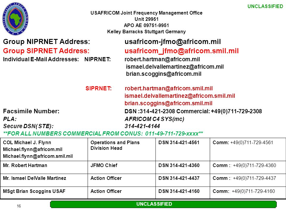 Group NIPRNET Address: usafricom-jfmo@africom.mil
