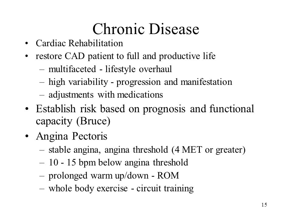 Chronic Disease Cardiac Rehabilitation. restore CAD patient to full and productive life. multifaceted - lifestyle overhaul.