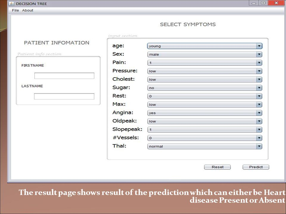 The result page shows result of the prediction which can either be Heart disease Present or Absent