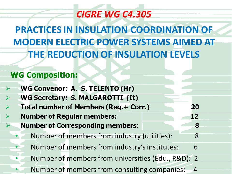 CIGRE WG C4.305 . PRACTICES IN INSULATION COORDINATION OF MODERN ELECTRIC POWER SYSTEMS AIMED AT THE REDUCTION OF INSULATION LEVELS