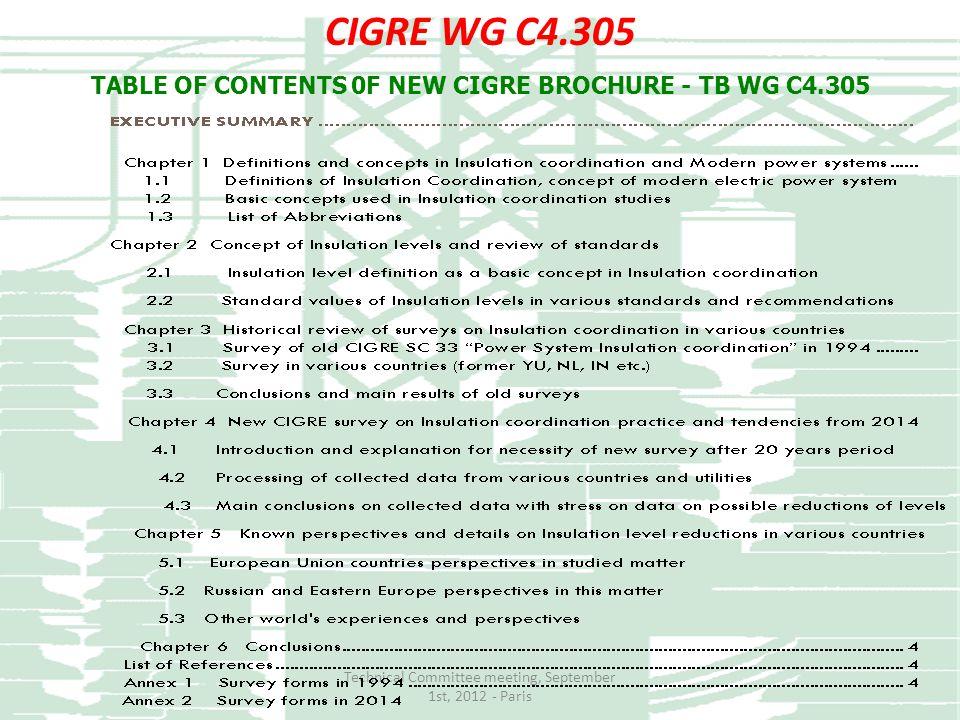 TABLE OF CONTENTS 0F NEW CIGRE BROCHURE - TB WG C4.305