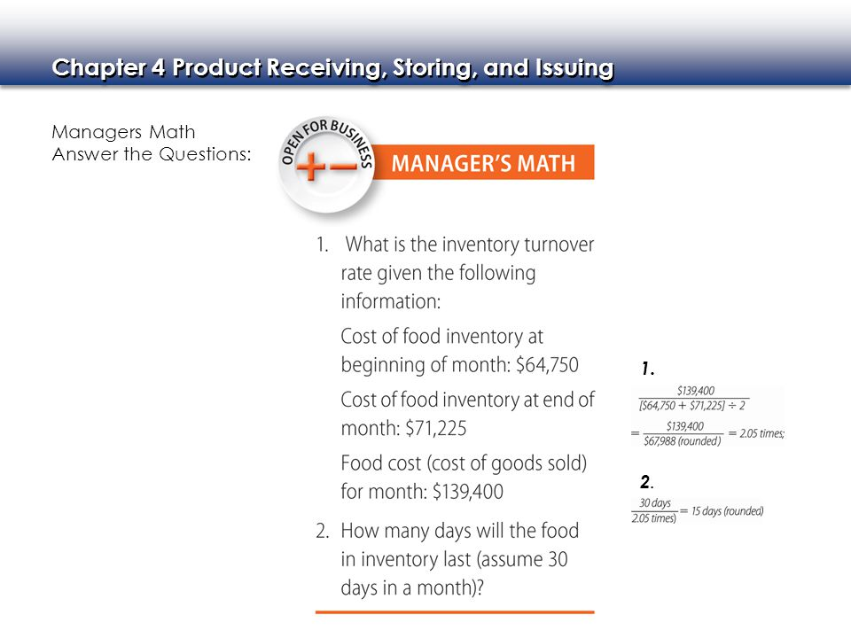 Managers Math Answer the Questions: 1. 2.