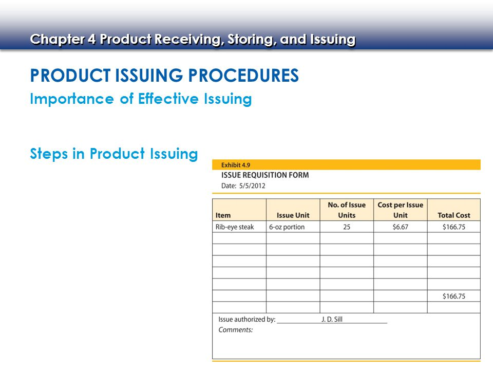 Product Issuing Procedures