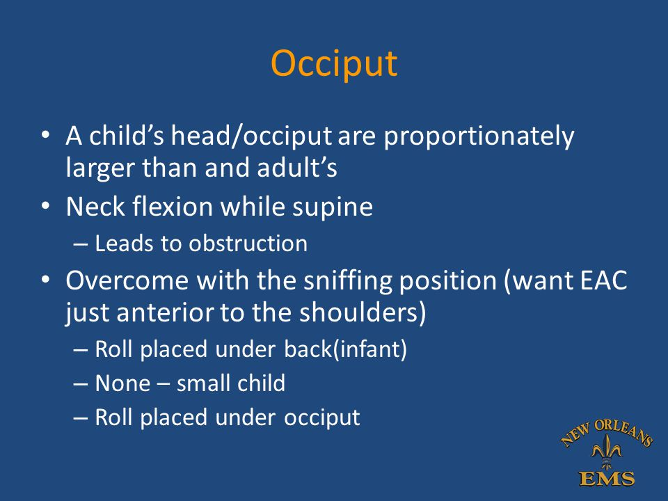 Occiput A child's head/occiput are proportionately larger than and adult's. Neck flexion while supine.