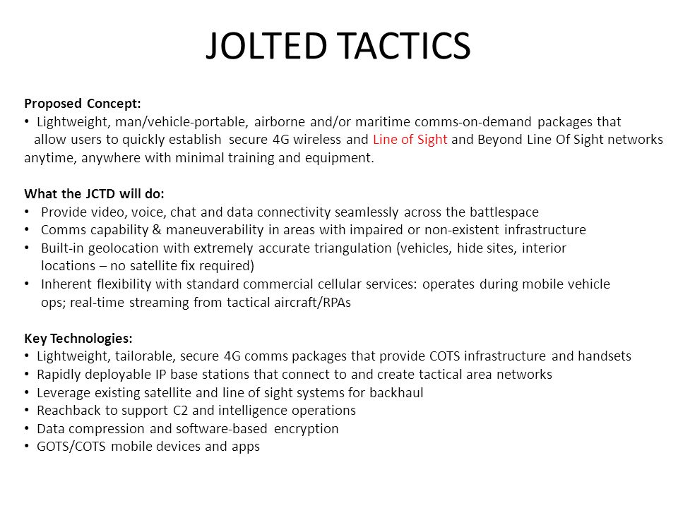 JOLTED TACTICS Proposed Concept: