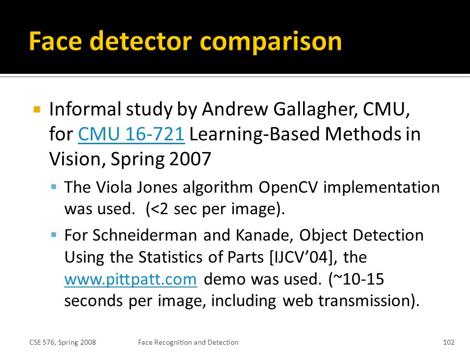 Face detector comparison