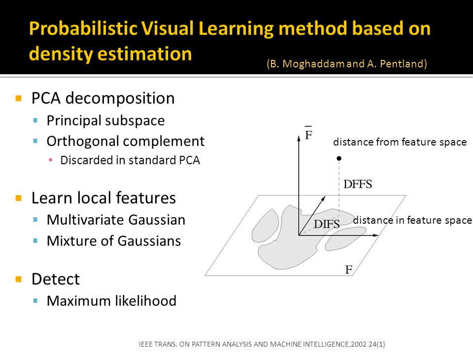 Probabilistic Visual Learning method based on density estimation