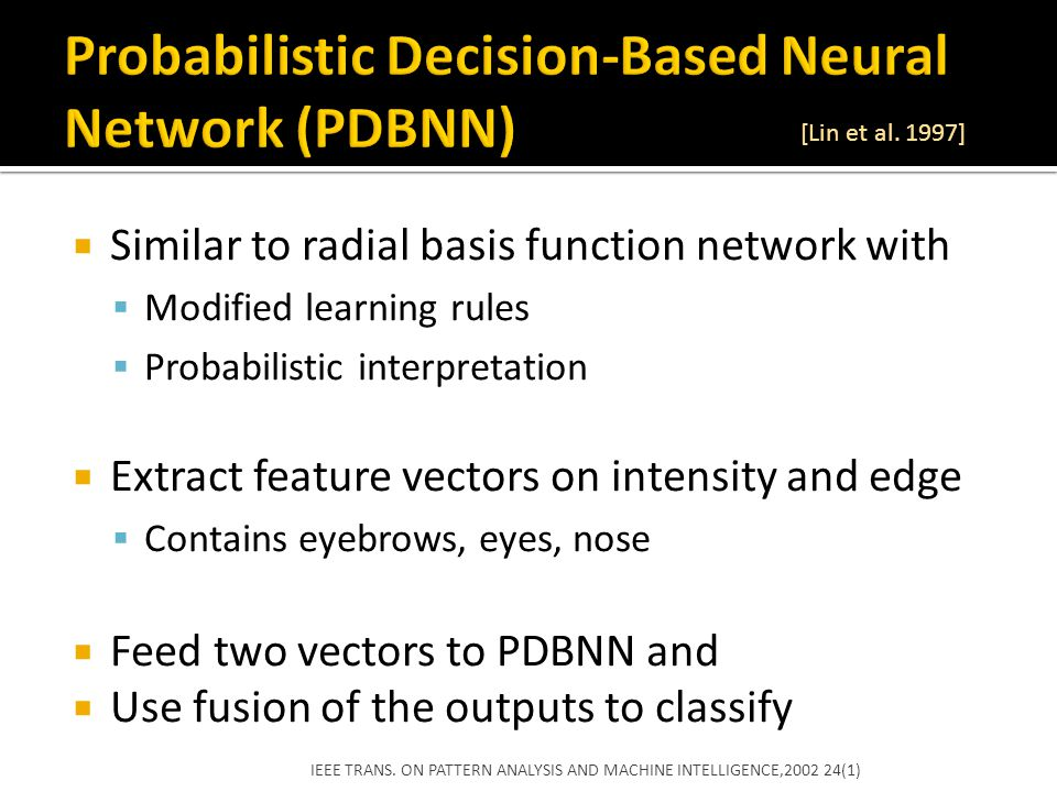 Probabilistic Decision-Based Neural Network (PDBNN)