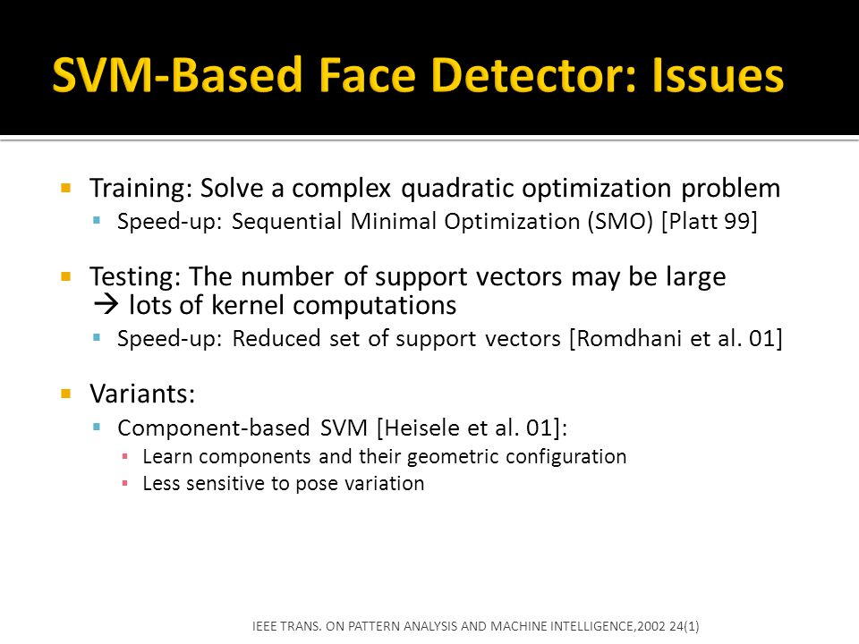 SVM-Based Face Detector: Issues