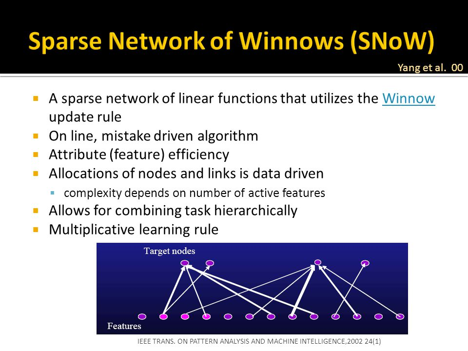 Sparse Network of Winnows (SNoW)