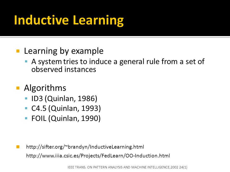 Inductive Learning Learning by example Algorithms