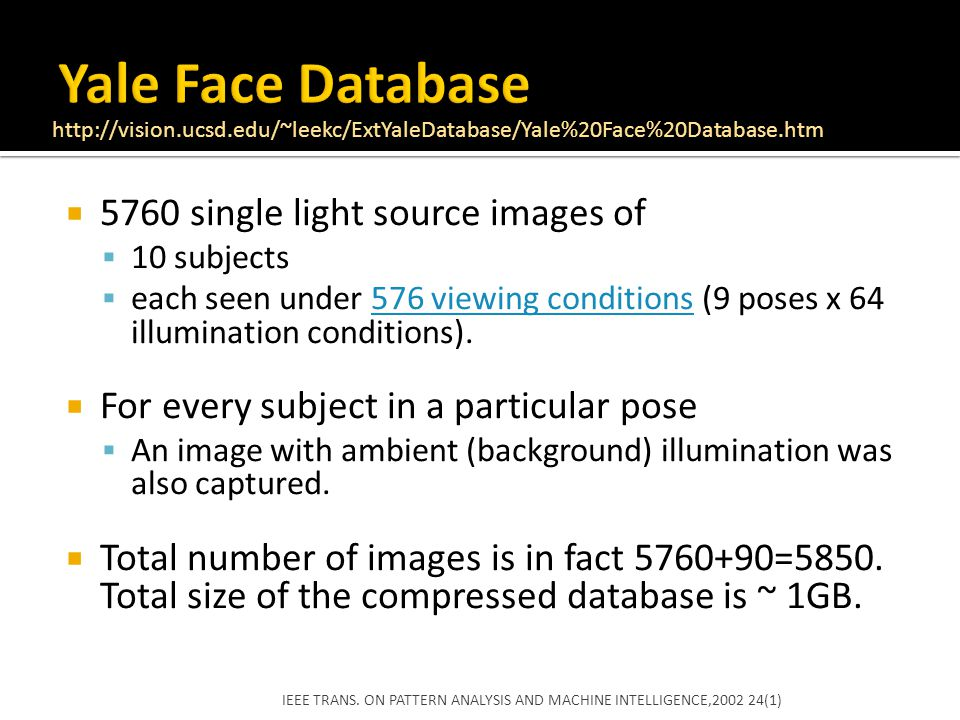 Yale Face Database 5760 single light source images of