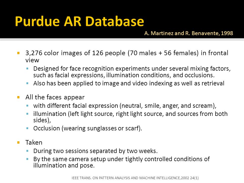 Purdue AR Database A. Martinez and R. Benavente, 1998. 3,276 color images of 126 people (70 males + 56 females) in frontal view.