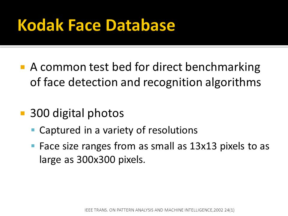 Kodak Face Database A common test bed for direct benchmarking of face detection and recognition algorithms.