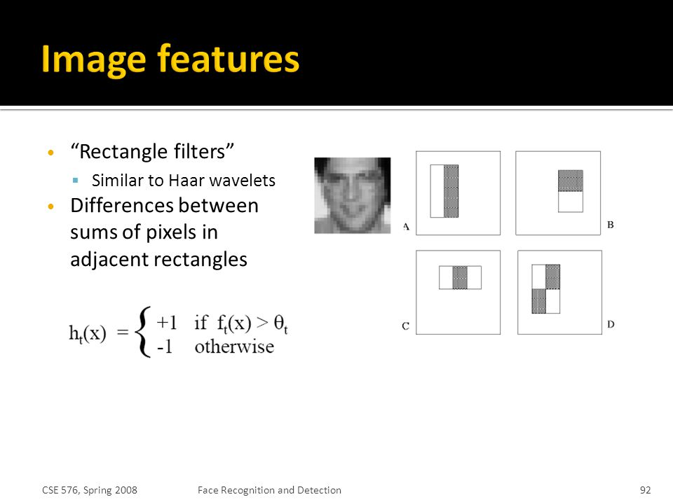 Image features Rectangle filters