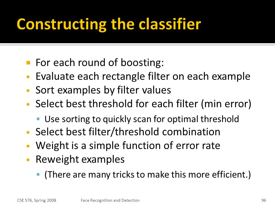 Constructing the classifier