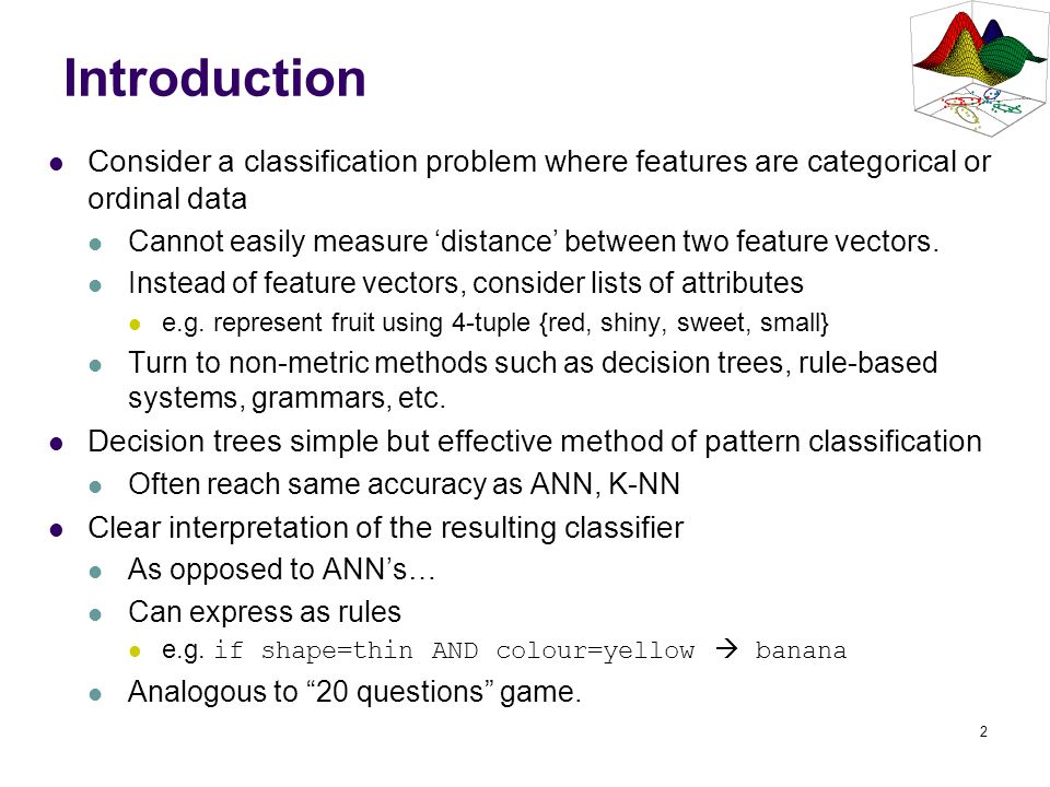 Introduction Consider a classification problem where features are categorical or ordinal data.