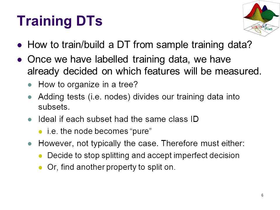 Training DTs How to train/build a DT from sample training data
