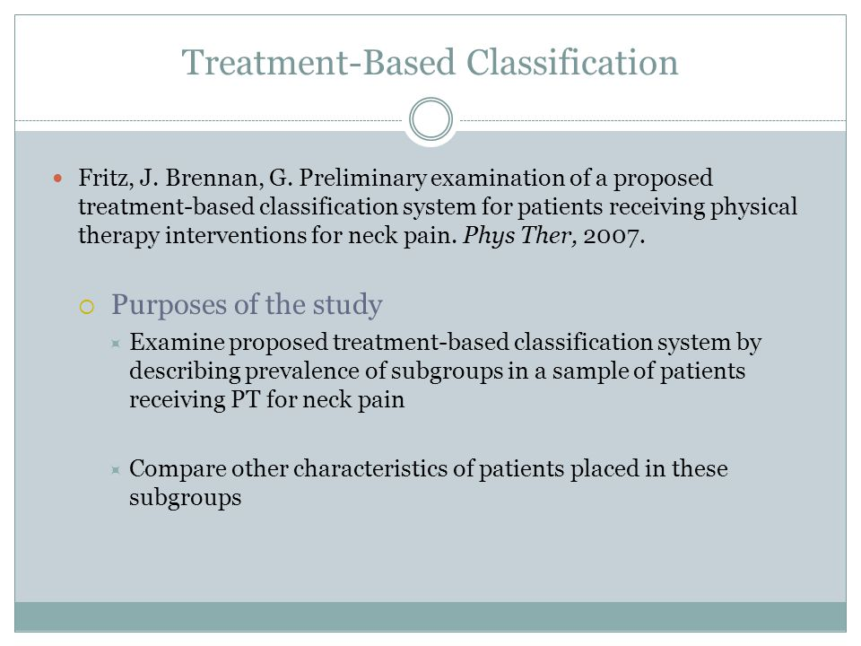 Treatment-Based Classification