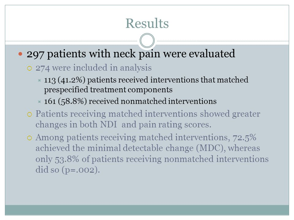 Results 297 patients with neck pain were evaluated