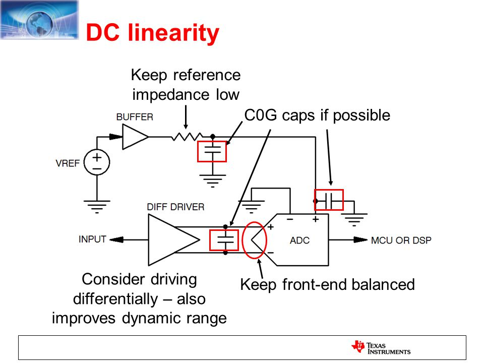 DC linearity Keep reference impedance low C0G caps if possible