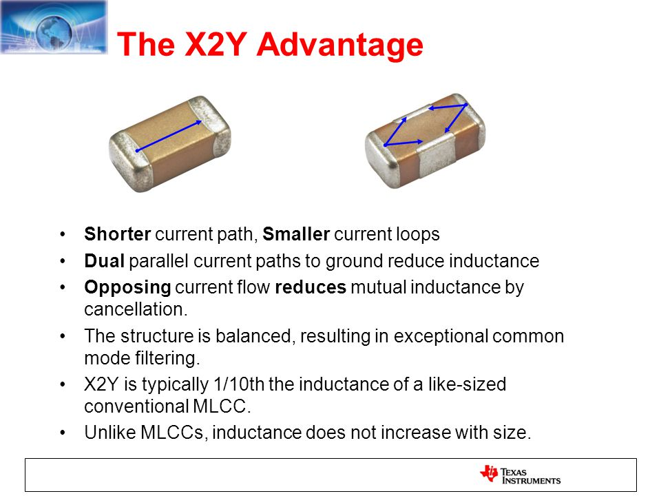 The X2Y Advantage Shorter current path, Smaller current loops