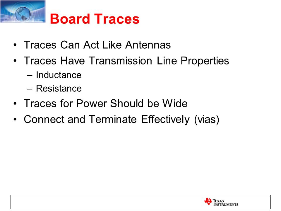 Board Traces Traces Can Act Like Antennas