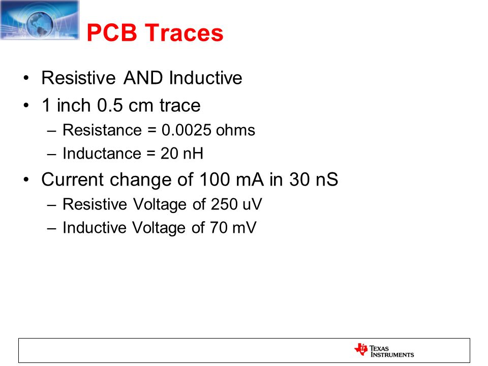PCB Traces Resistive AND Inductive 1 inch 0.5 cm trace