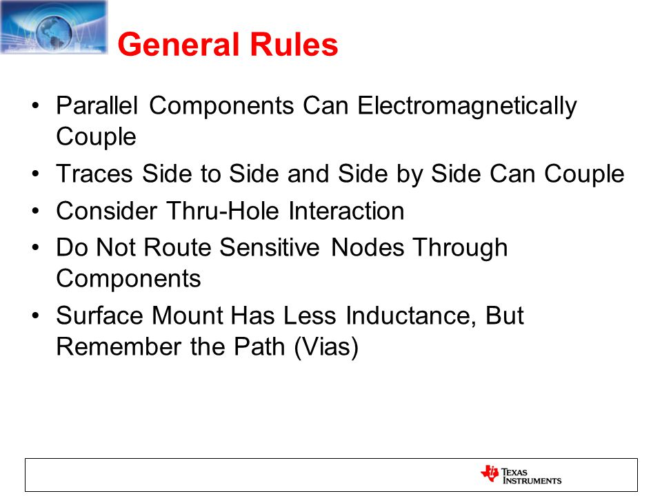 General Rules Parallel Components Can Electromagnetically Couple