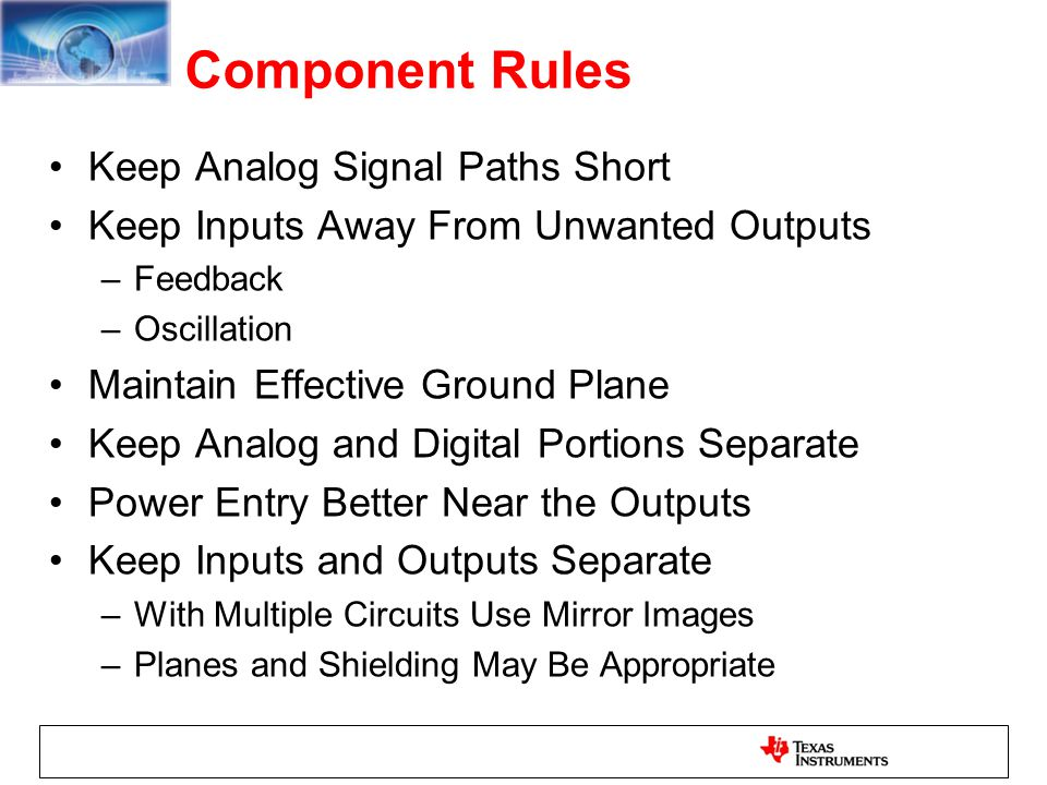 Component Rules Keep Analog Signal Paths Short