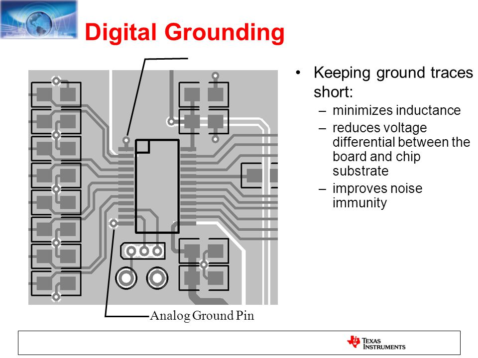 Digital Grounding Keeping ground traces short: minimizes inductance