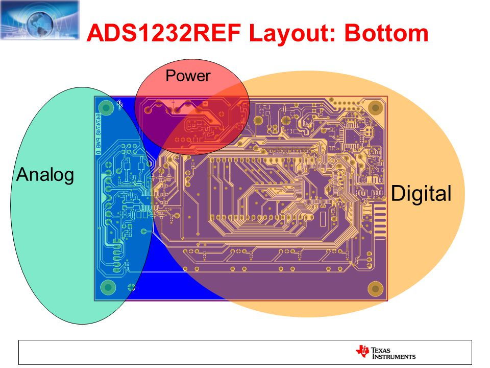 ADS1232REF Layout: Bottom Digital Analog Power