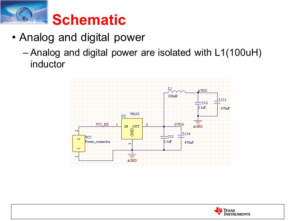 Schematic Analog and digital power