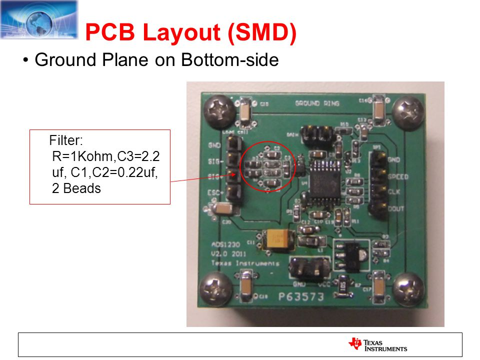 PCB Layout (SMD) Ground Plane on Bottom-side