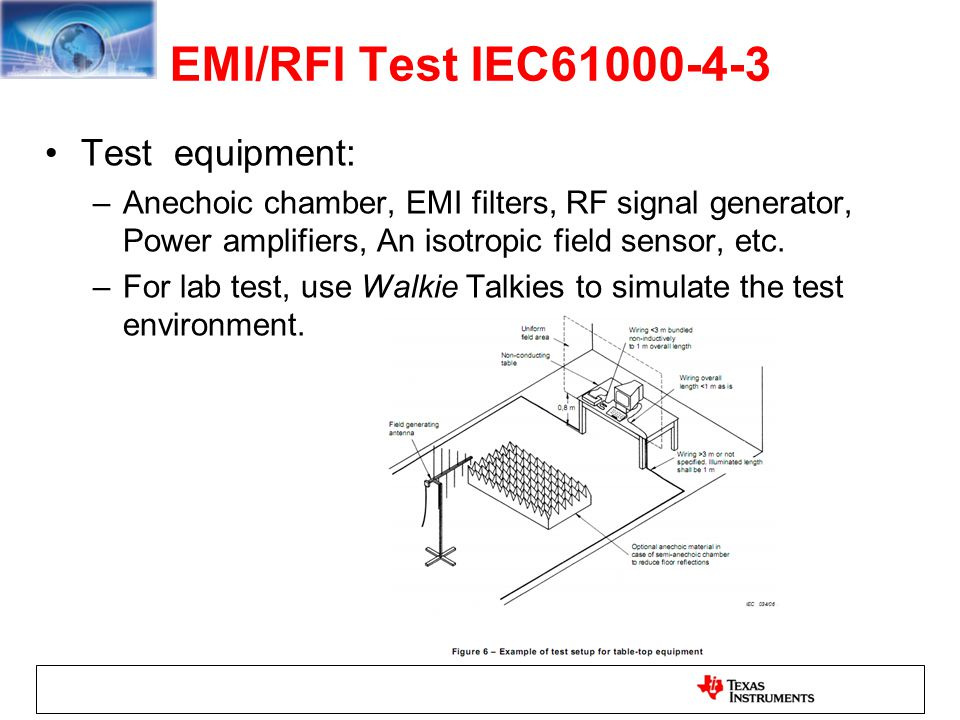 EMI/RFI Test IEC61000-4-3 Test equipment: