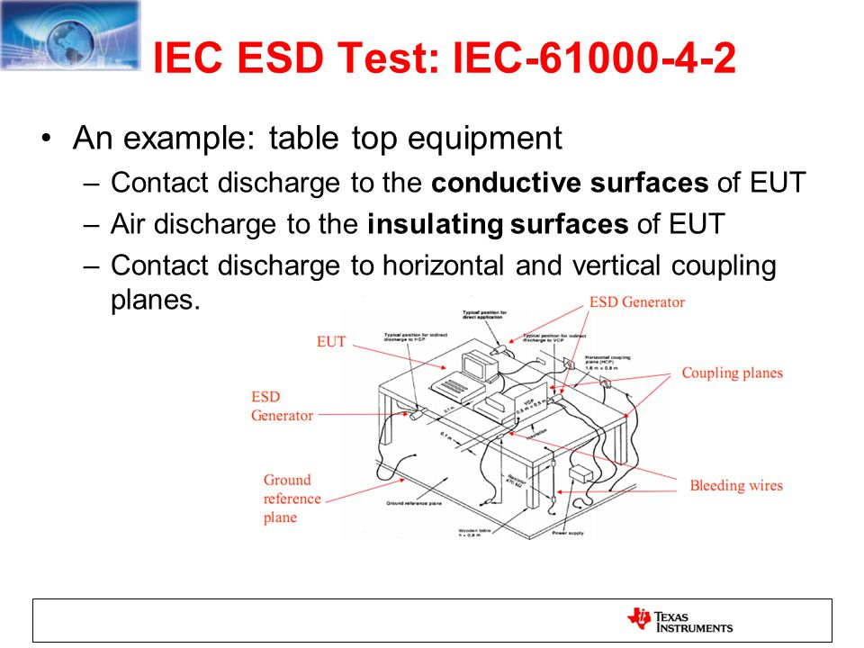 IEC ESD Test: IEC-61000-4-2 An example: table top equipment