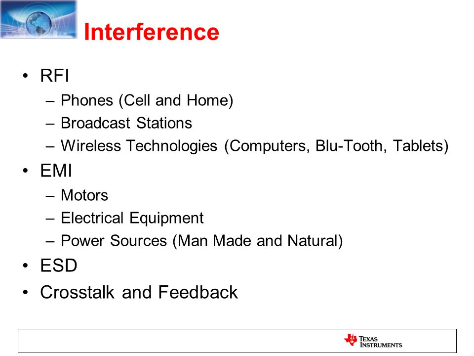 Interference RFI EMI ESD Crosstalk and Feedback Phones (Cell and Home)