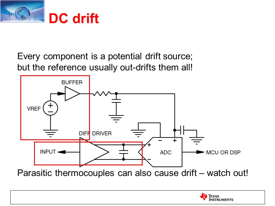 DC drift Every component is a potential drift source;