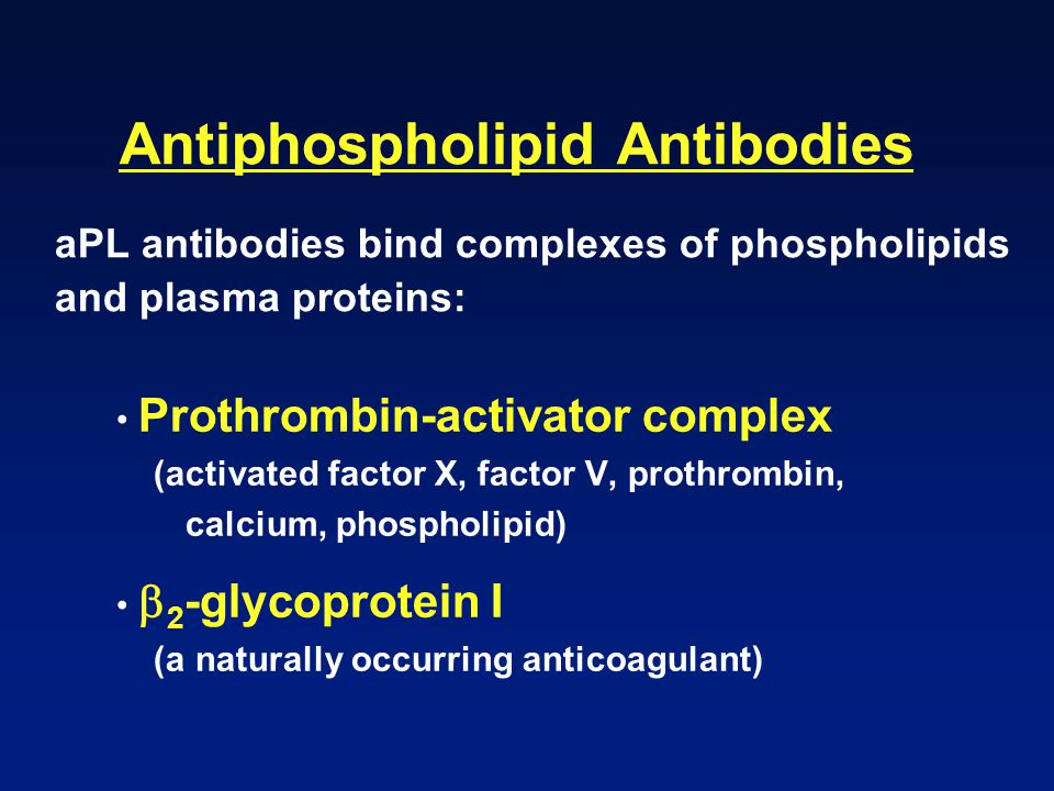 Antiphospholipid Antibodies aPL antibodies bind complexes of phospholipids and plasma proteins: