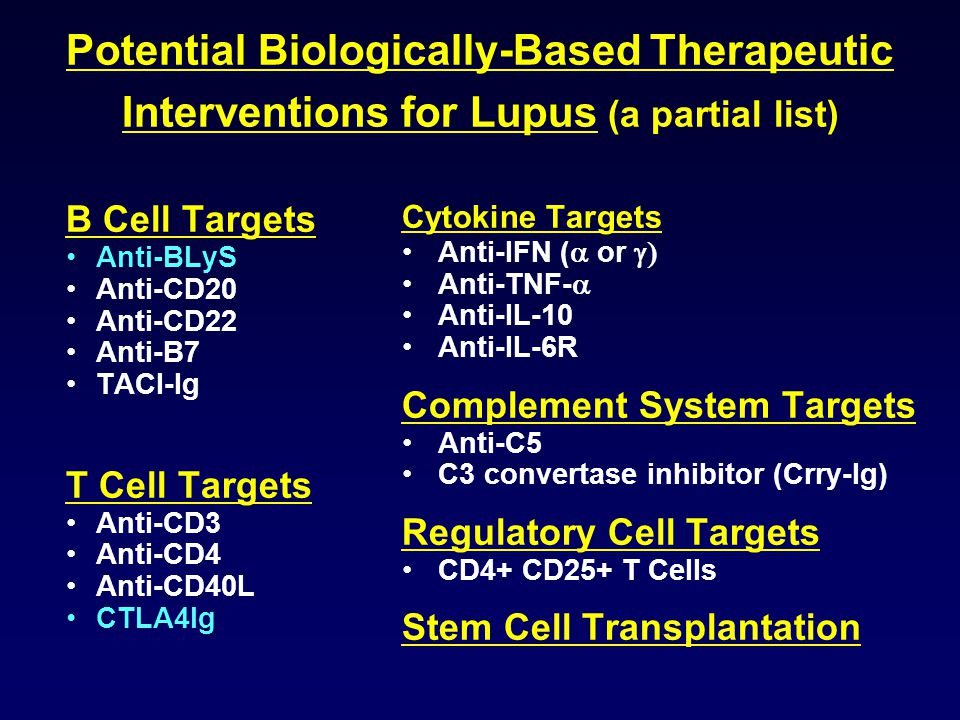 Potential Biologically-Based Therapeutic Interventions for Lupus (a partial list)