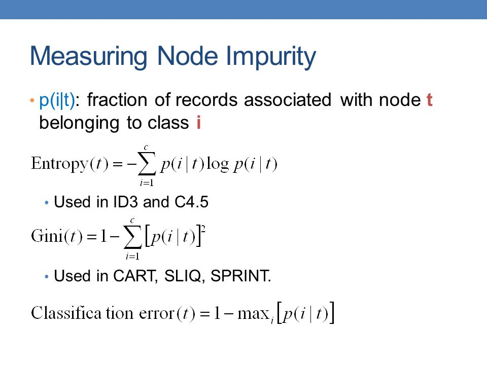 Measuring Node Impurity