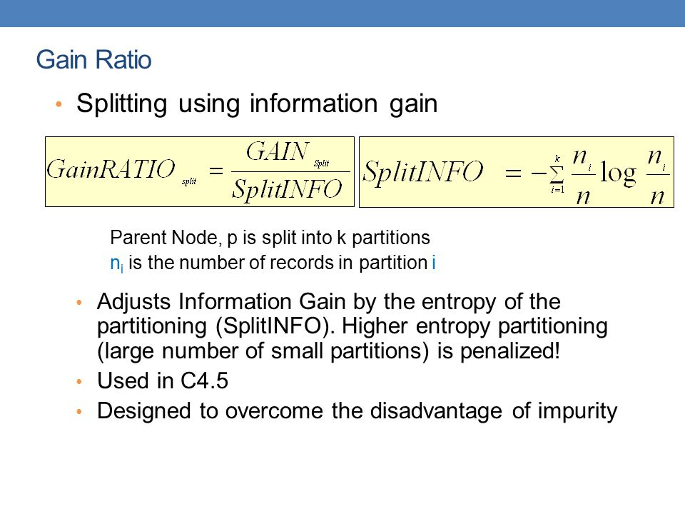 Splitting using information gain