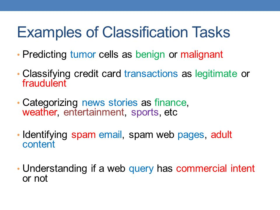 Examples of Classification Tasks
