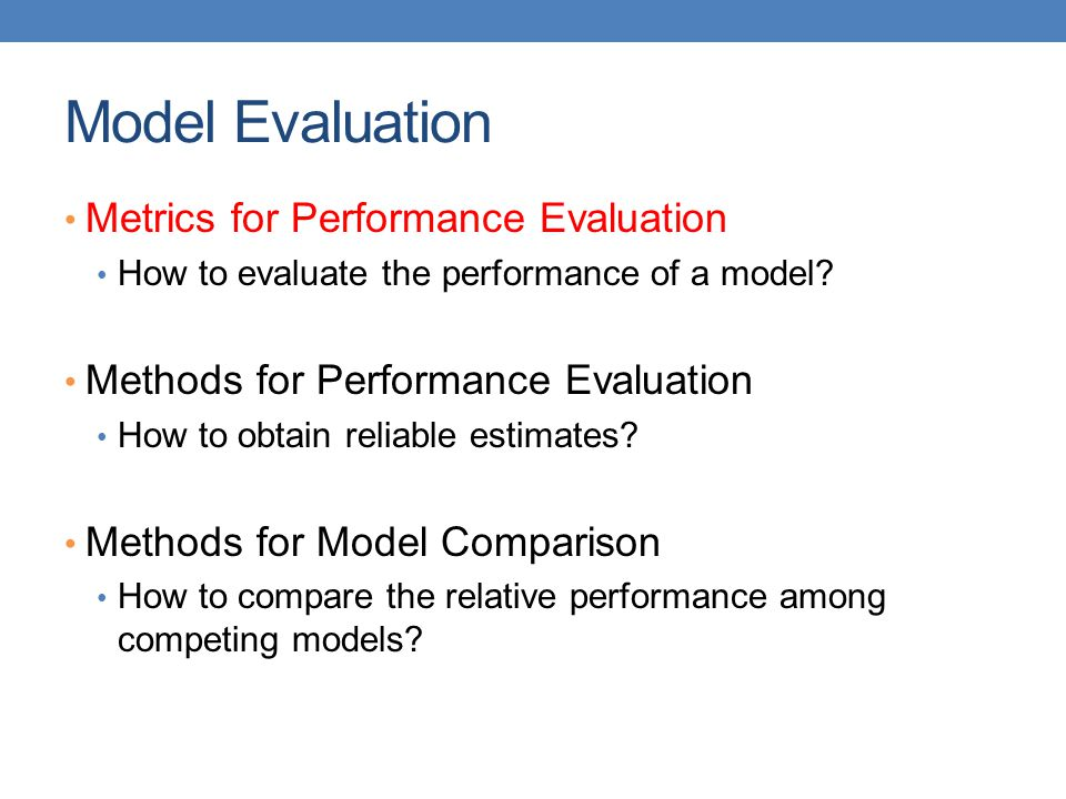 Model Evaluation Metrics for Performance Evaluation