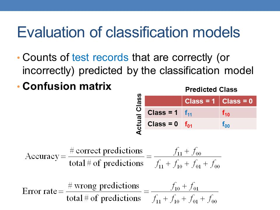 Evaluation of classification models