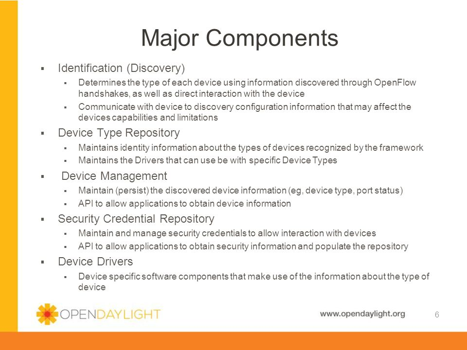 Major Components Identification (Discovery) Device Type Repository
