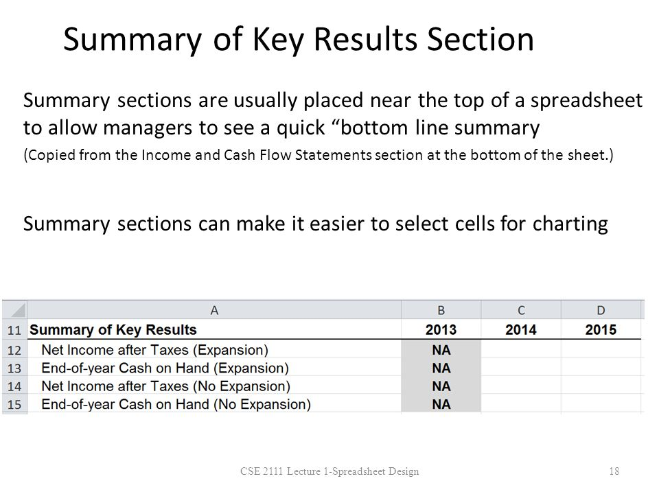 Summary of Key Results Section