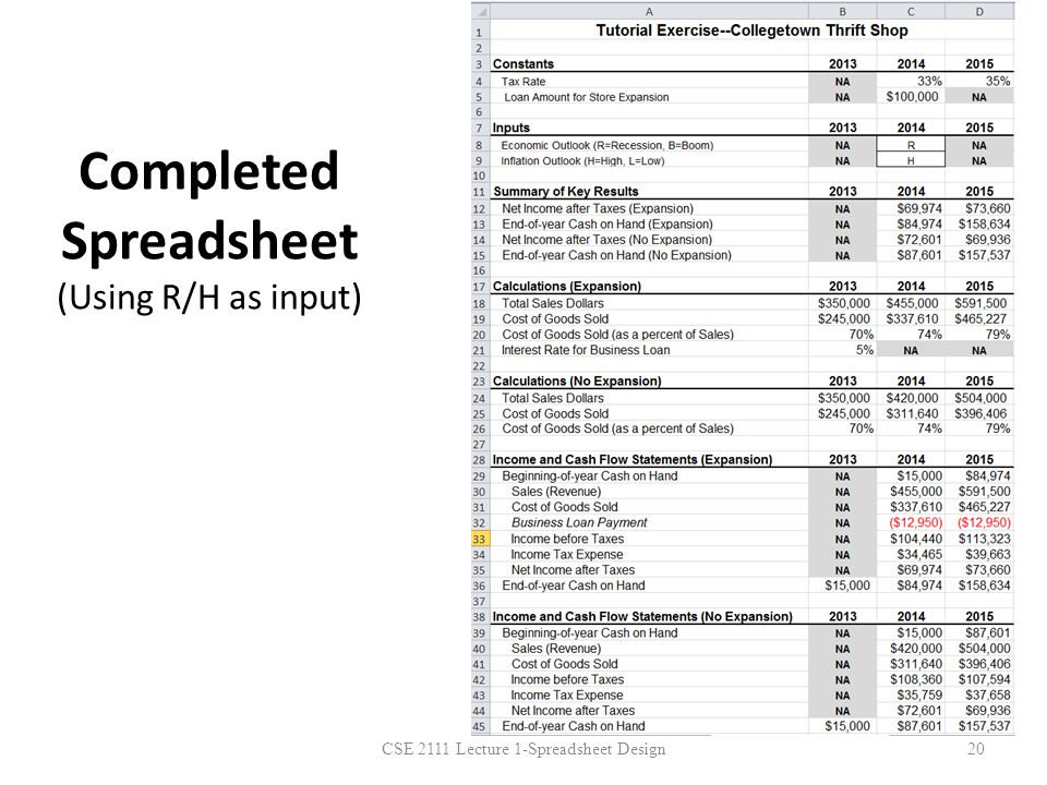 Completed Spreadsheet (Using R/H as input)