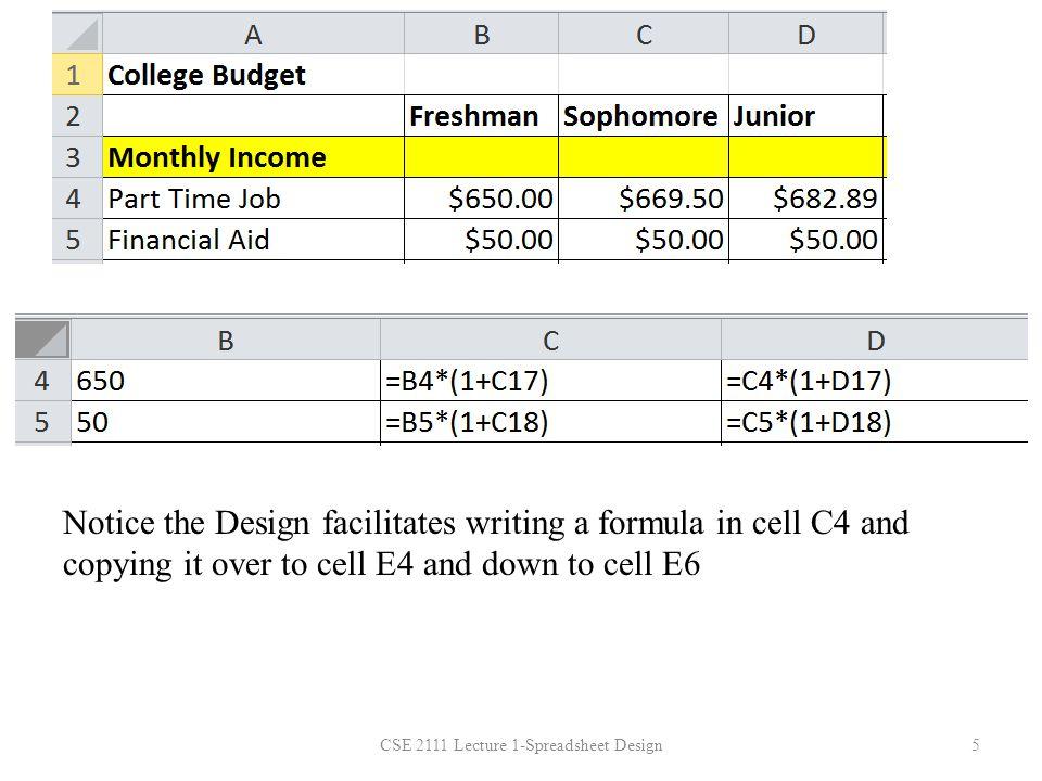 CSE 2111 Lecture 1-Spreadsheet Design